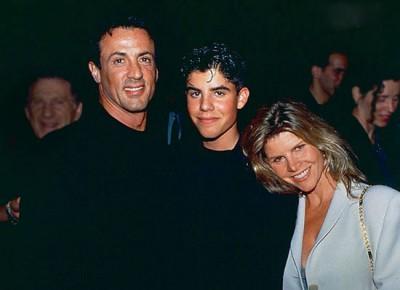 Сильвестр Сталлоне с бывшей женой Сашей Зак и сыном